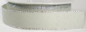 Metalic edge zand/zilver lint, breed