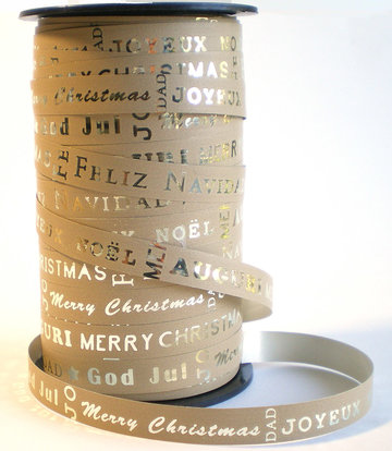 Naturel/zilver kerst teksten lint