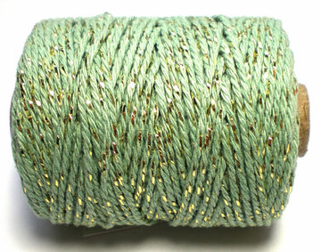 Cotton cord mint/goud
