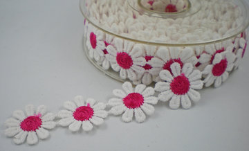 Margriet band wit/fuchsia