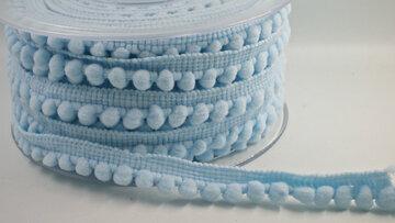 Pompom band Lichtblauw smal
