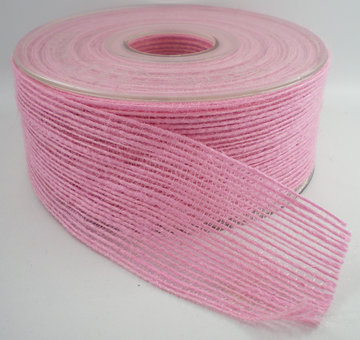 Jute band roze 40mm