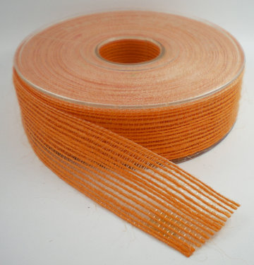 Jute band oranje 25mm
