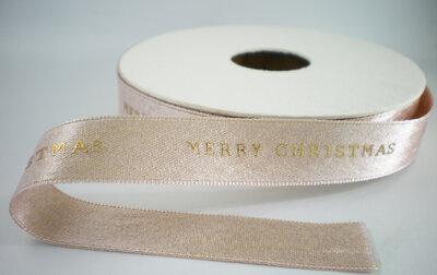 Lichtroze metallic merry Christmas lint