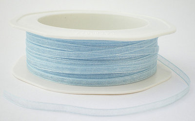 Organza lint 3mm lichtblauw