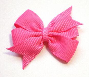 Dubbele strik roze grosgrain