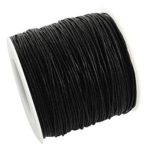 Waxcord zwart,1mm