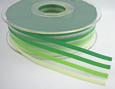 Gestreept lint groen,25mm
