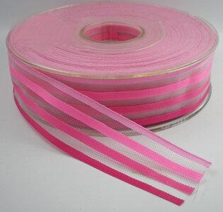 Gestreept lint roze,25mm