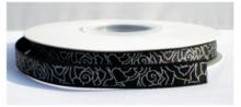 Grosgrain lint roos zwart/zilver